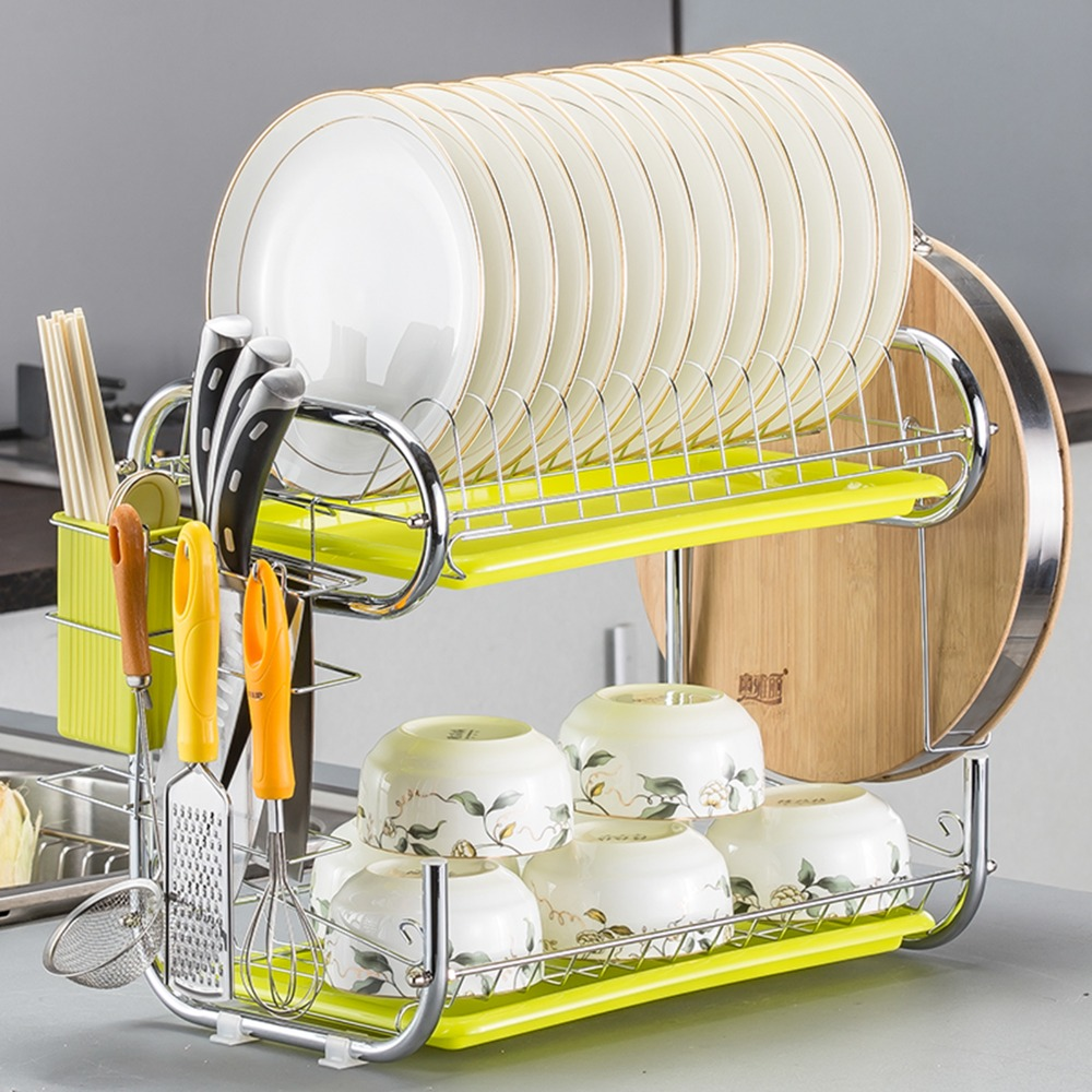 C-Shaped 2 Tier Dish Rack Holder Stainless Steel Drying Drainer Dish Cutlery Cup Rack Kitchen Organizer For Kitchen