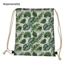 Nopersonality Green Tropical Leaves Pattern Drawstring Bags for Women Men Portable Summer Beach Bag Lightweight Travel Package