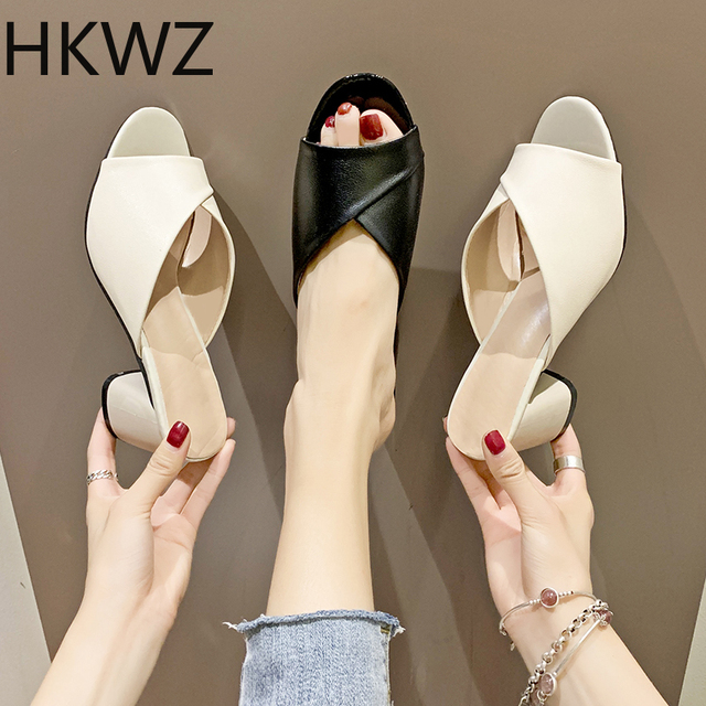 Fish mouth sandals female wild  brand new summer with 6cmPU waterproof thick with single shoes luxury design breathable sandals