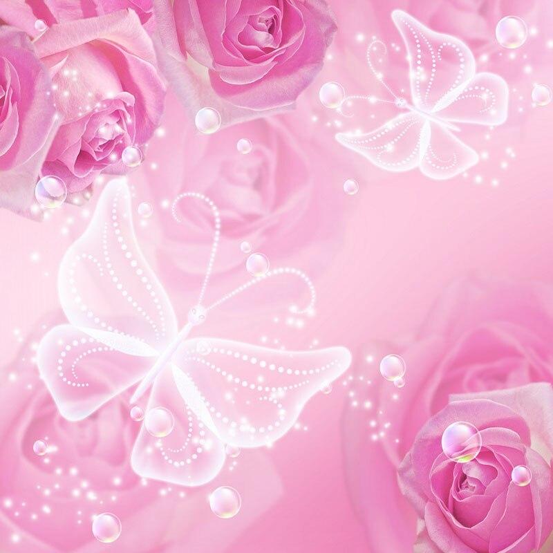Vinile Fotografia Sfondo Calcolato Stampato Rosa Rosa Farfalla