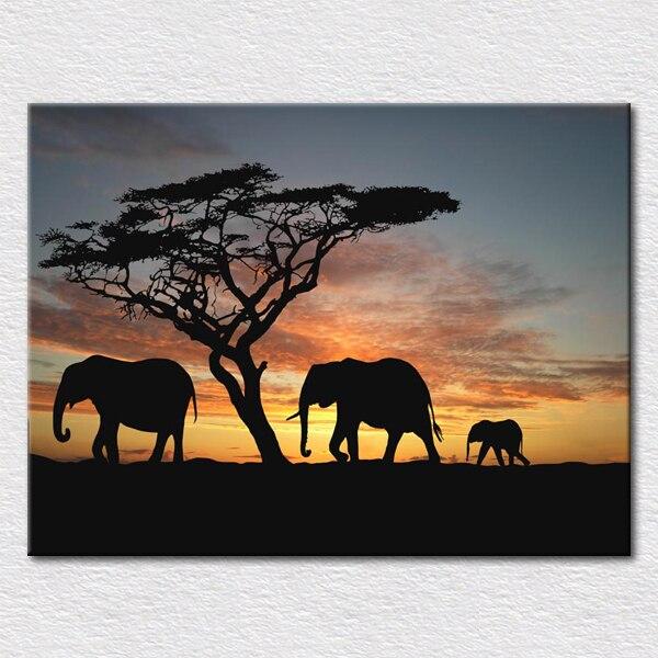 Leinwanddrucke Kunst Malerei Von Afrika Elefanten Im Sonnenuntergang