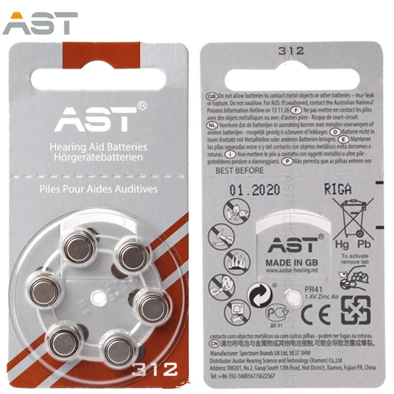 AST 60 PCS Hearing Aid Batteries A312 312A ZA312 312 PR41 Free Shipping! Zinc Air hearing aid battery brand guangzhou feie deaf rechargeable hearing aids mini behind the ear hearing aid s 109s free shipping