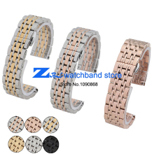 Solid Stainless Steel Watchband butterfly clasp Metal Wristwatches Band rose gold silver watch belt 14mm 20mm