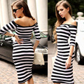 Women  Dress Sexy Summer Dress 2017 Off Shoulder Striped Office   Big yards Dresses