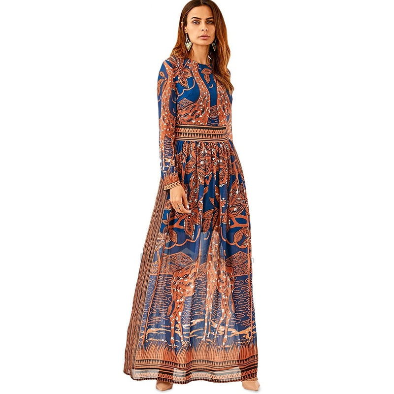 Summer Maxi Dress New Elegant Women Casual Long Dresses 2018 Long Sleeve Giraffe Printing Chiffon Summer Party Dresses