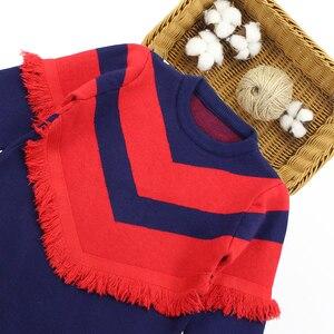 Image 3 - שמלת בנות מסיבת סתיו סוודר שמלת בנות פסים ילדים שמלת חורף בנות בגדים סרוגים 6 8 10 12 13 14 שנה
