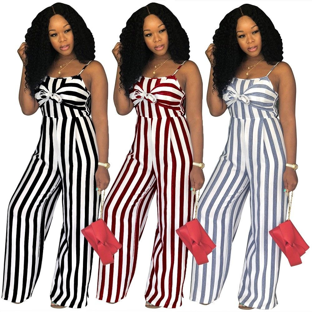 Newly Women Jumpsuit Lady Strap Stripe Romper womens Jumpsuit Bodysuit Bodycon Party streetwear Outfit Clothes(China)