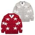 Ropa de bebé niña de punto jersey de primavera, otoño de los Bebés Del desgaste de la ropa Suéteres impreso estrella de punto de invierno 4 Tamaño for2-5T
