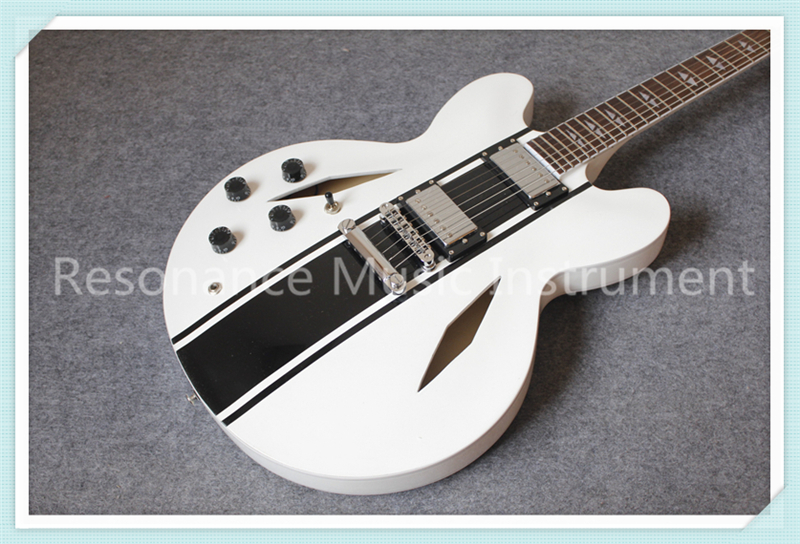 Custom Shop White Glossy Finish Dave Signature Lefty Suneye ES Electric Guitar With Black Strips Free Shipping