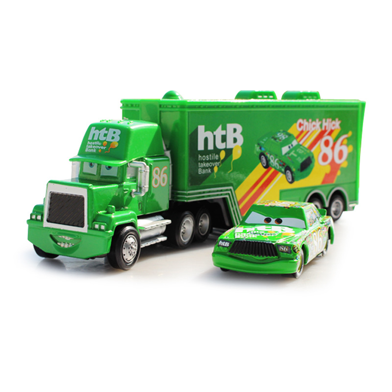 hot sale 2pcs set pixar cars 2 mack chick hicks truck hauler no 86 thb toys car container. Black Bedroom Furniture Sets. Home Design Ideas