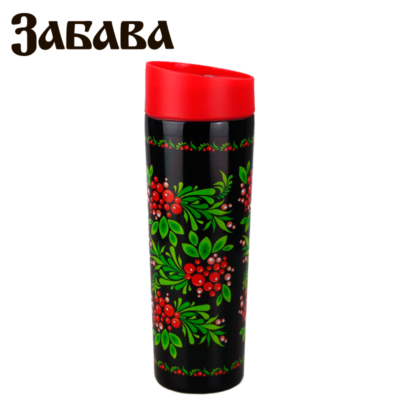 ZABAVA RK-0403M Hot cup 400ml Vacuum Flask Thermose Travel Sports Climb Thermal Pot Insulated Vacuum Bottle Stainless Steel outdoor sports water bottle cup with strap orange 500ml