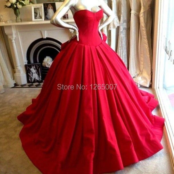 0883ef02dcd Элегантный Милая Пышное Бальное платье красного цвета Атлас красивые  Вечерние платья Новая мода