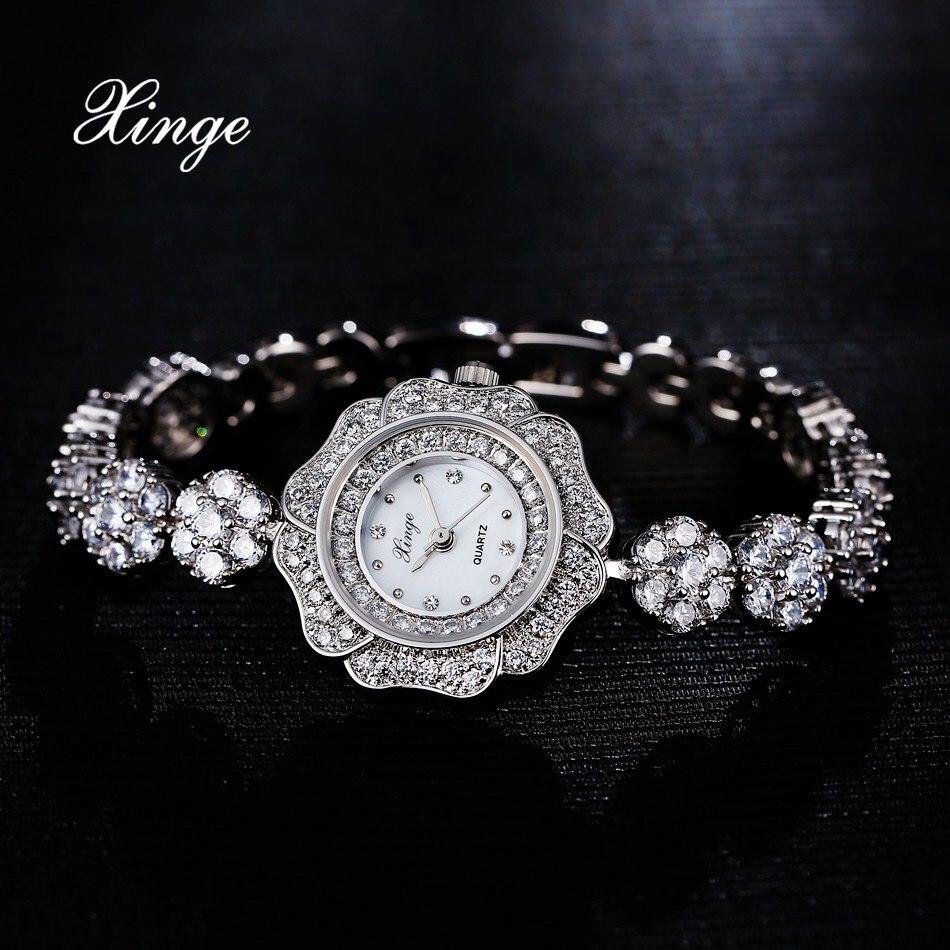ФОТО Xinge Brand 3A Zircon Women Luxury Steel Watch 30M Waterproof Silver Ladies Dress Quartz Wristwatch Women Bracelet Fashion Watch