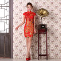 2016 spring women lady lace cheongsam qipao sexy nightclub red phoenix pattern chinese traditional dresses short sleeve