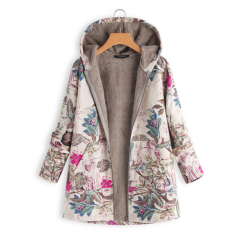 2018 New Women Long Sleeve Digital Print Hooded Winter Coat Keep Warm Fleece Jacket Zipper Casual Oversize Long Coat D179