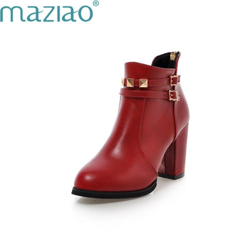 Femmes Cheville Pour Décoration Métal Courte Chaussures Noir Boucle Ceinture En Parti rouge Bottes 2018 Sexy Maziao Peluche OXuwkZiTP