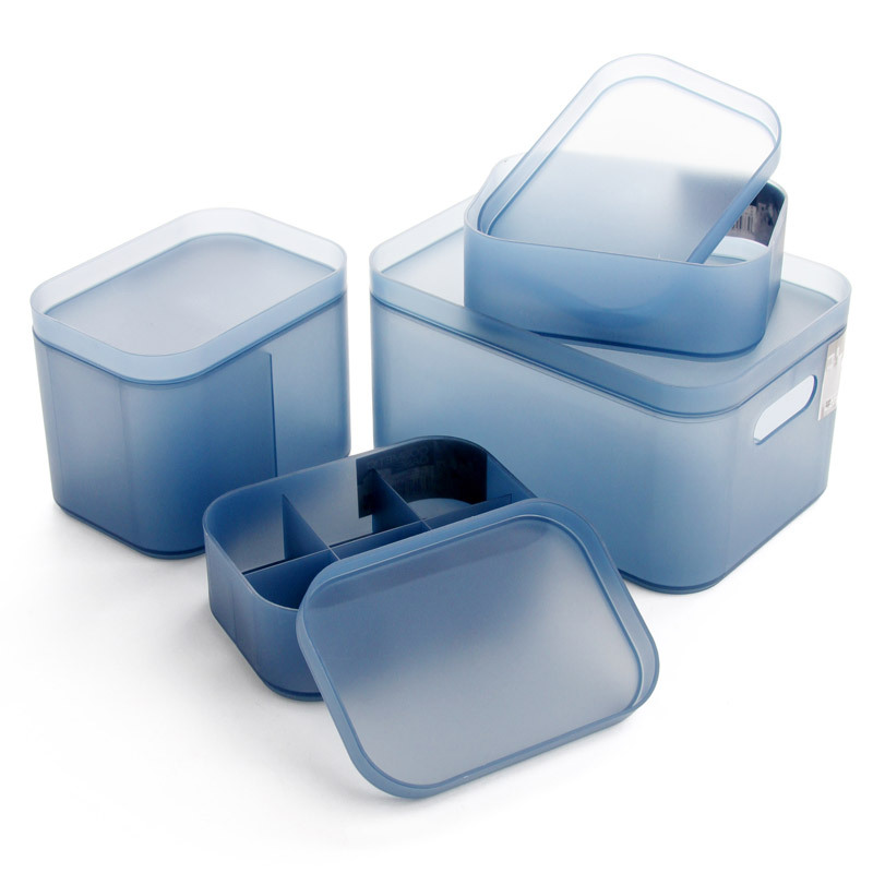Plastic Blue Makeup Organizer Dull Polish Jewelry Box Cosmetic Organizer Makeup Box Lipstick Makeup Storage For Bathroom Table