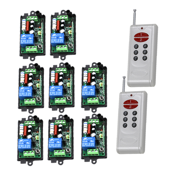 Top Quality 220V 315HZ 1-Channel RF Digital Wireless 2*Remote Control 8*Switch Power for Lighting 200M Range Controlling 4294