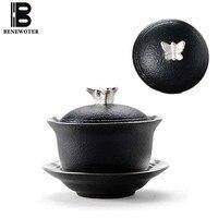 130ml Vintage Handmade Japanese Ceramic Pottery Metal Silver Butterfly Gaiwan Chinese Kung Fu Tea Set Teapot Tea Maker Drinkware