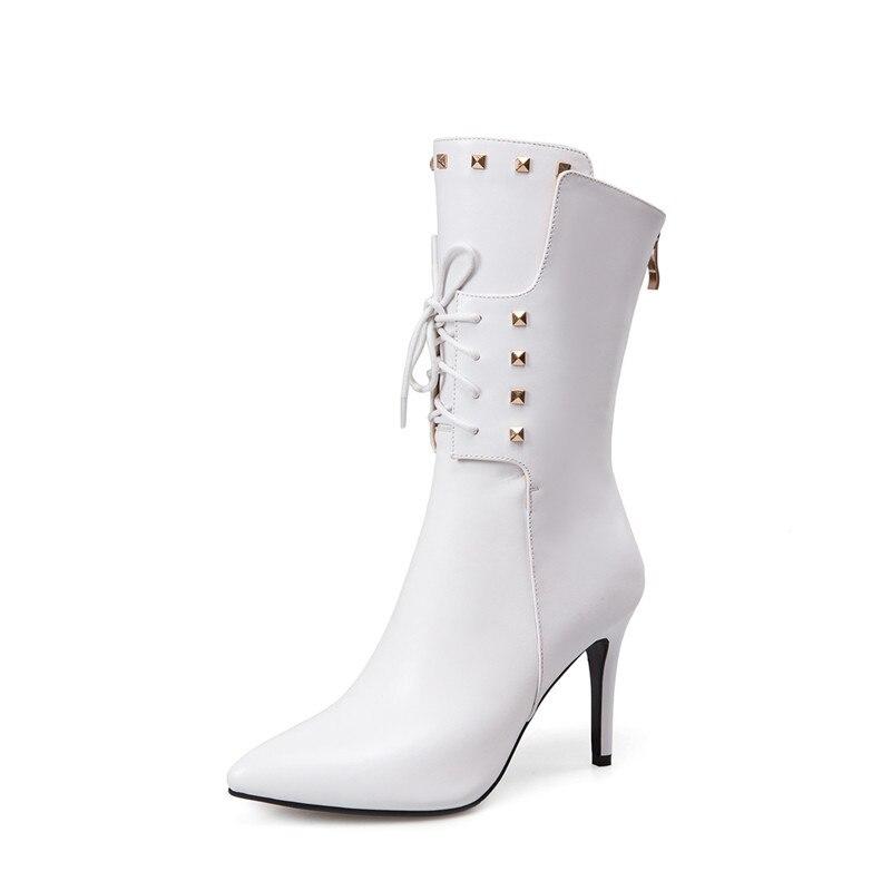 Grande Bottes Talons Aiguilles Cheville Chaussures 2018 33 Bout Pour Femmes 43 blanc Taille Automne Lace rose Noir Cuir En Memunia Red Véritable Pointu rouge Hiver Up YT5pqxawq