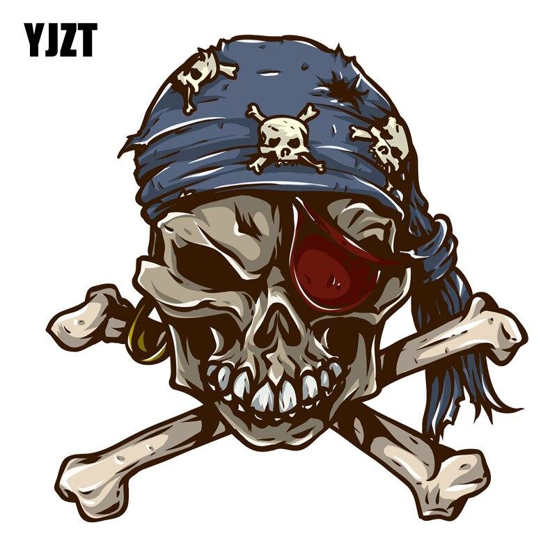 YJZT14.8CM*15M Funny Pirate Skull Decal PVC Motorcycle Car Sticker 11-00688