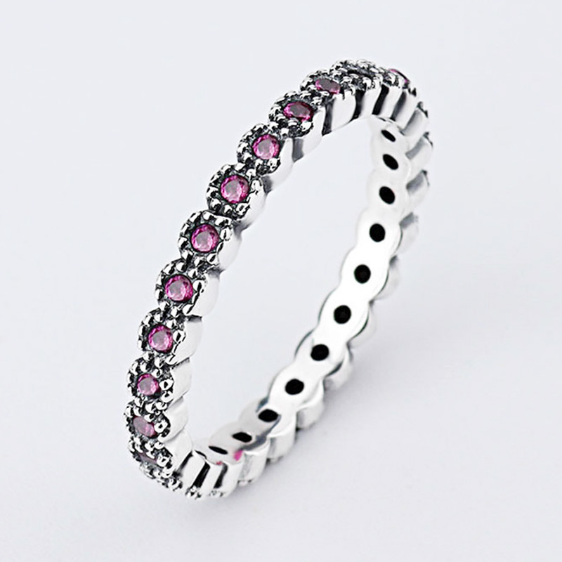 Authentic 925 Sterling Silver Ring Alluring Small Brilliant With Crystal Rings For Women Wedding Party Gift Fine Jewelry