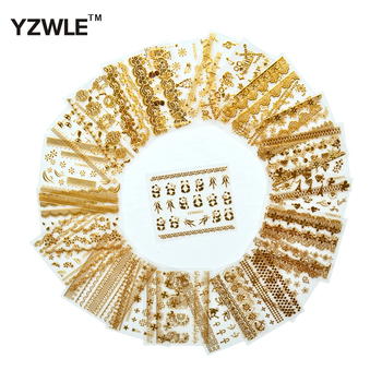 цена на YZWLE 21 Sheets 3D Hot Gold DIY Decals Nails Art Stickers Accessories For Manicure Salon