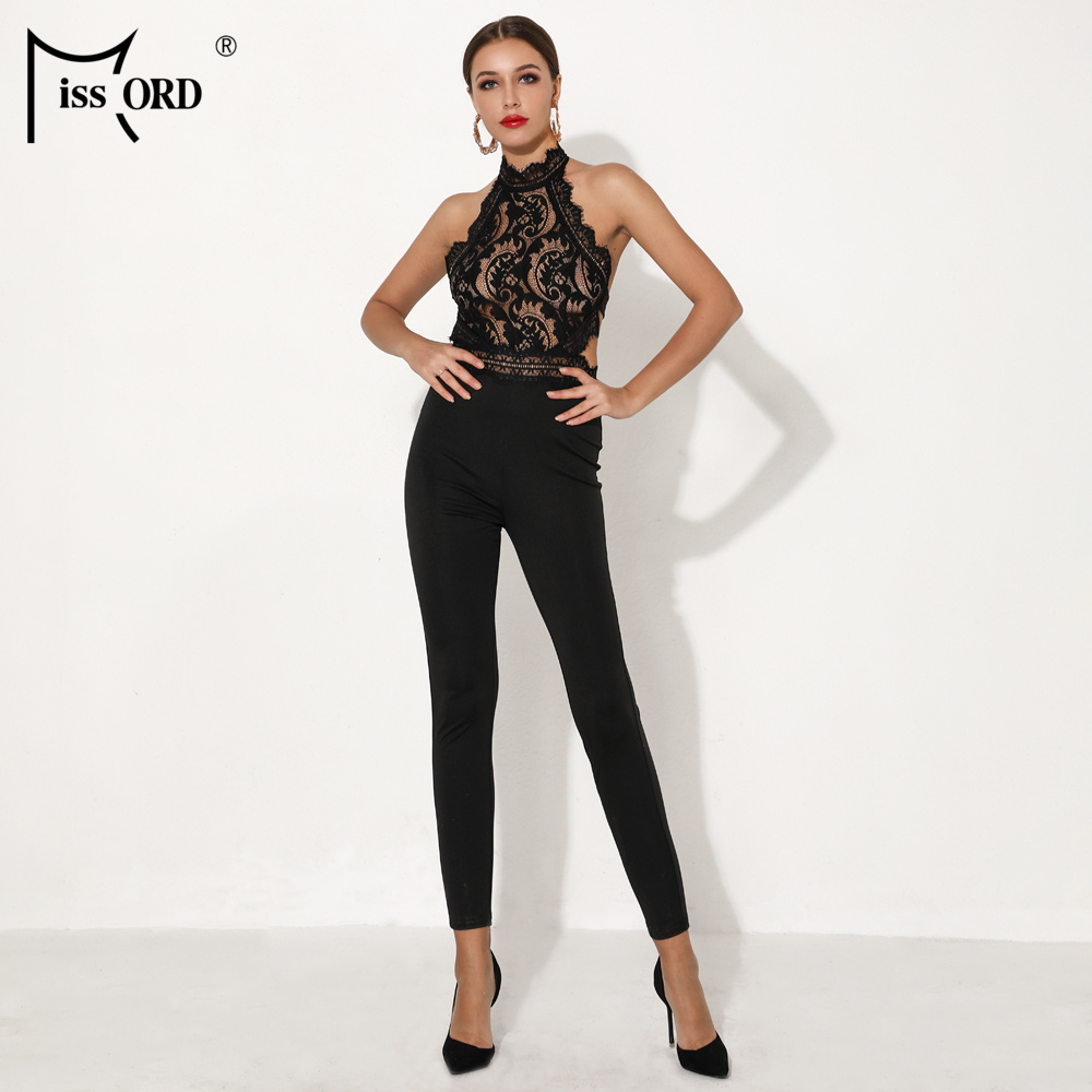Missord 2019 Women Sexy Off Shoulder Lace Backless Playsuits Elegant Solid Color   Jumpsuits   FT19033