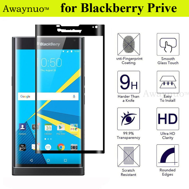 Awaynuo 3D Full Coverage Curved Tempered Glass Film Screen Protector For Blackberry Priv 9H 3D Full Covered Tempered Glass