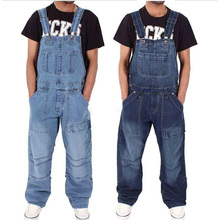 Men's Jeans Overalls Multi-pocket Loose Denim Pants Solid Co