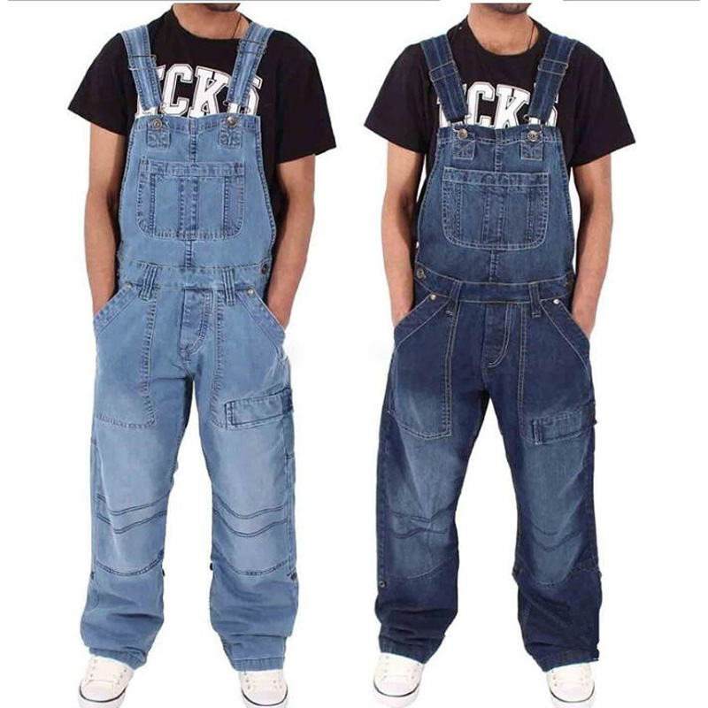 Men's Jeans Overalls Multi-pocket Loose Denim Pants Solid Color Simple Personality Male Jumpsuits Trousers
