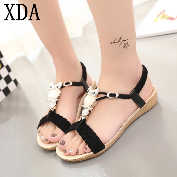 XDA Women Sandals 2018 NEW hot bohemia beaded owl wedge sandals women summer style shoes woman shoes sandals free shipping F97 new women sandals low heel wedges summer casual single shoes woman sandal fashion soft sandals free shipping