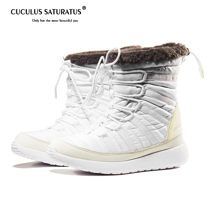 Cuculus 2019 Boots Women Slip On Soft Snow Boots Round Toe Lady Flat Winter Fur Boots