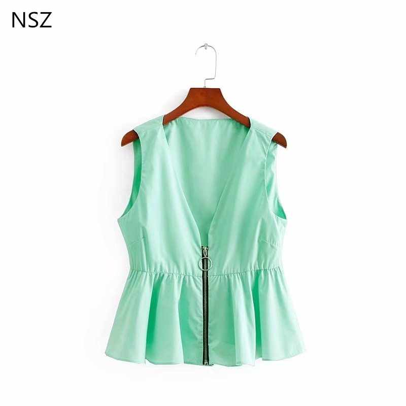 NSZ Women Peplum Top Crop Top Solid Summer Vest Sleeveless Shirt Deep V Neck  Sexy Blouse 9d48e093b