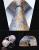 """TZP14B8 Ouro Azul Paisley 3.4 """"Homens Gravata de Seda Gravata Lenço Abotoaduras Set Festa de Casamento Clássico Quadrado Bolso Gravata"""