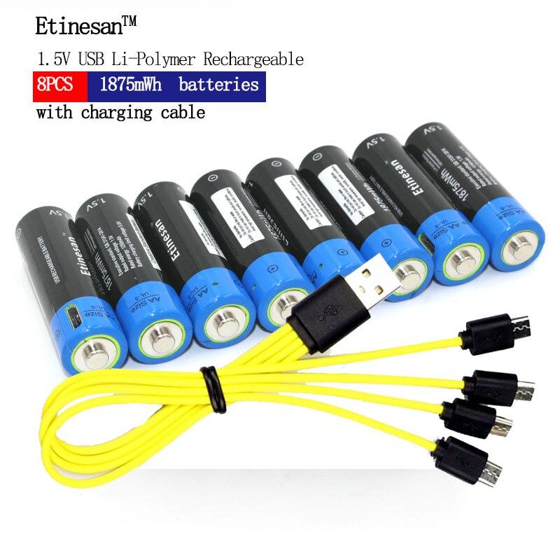 Etinesan 8 pièces 1.5 V AA 1875mWh li-polymère li-po rechargeable lithium li puissance USB batterie + Micro USB câble de charge ligne