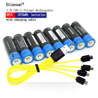 Etinesan 8pcs 1.5V AA 1875mWh li polymer li po rechargeable lithium li power USB battery + Micro USB charging cable line