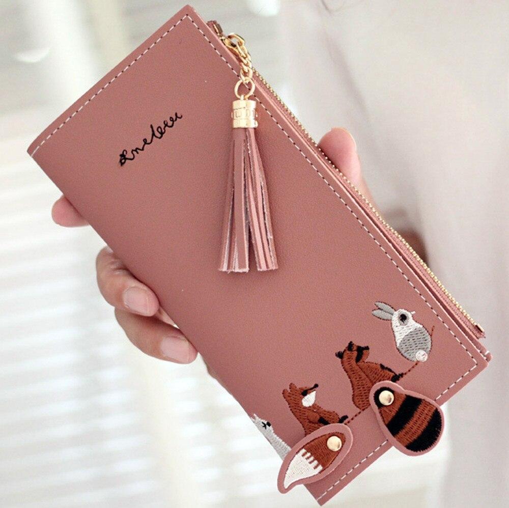 Women Square Wallet Fox Cat Short Wallet Tassel Coin Purse Card Holders Handbag Package Shopping Long Purse
