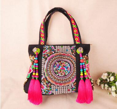 Hot-sale Ethnic embroidery bags fashion personality National Nice tassel beads one-shoulder bag lady travel shopping handbag 2016 summer national ethnic style embroidery bohemia design tassel beads lady s handbag meessenger bohemian shoulder bag