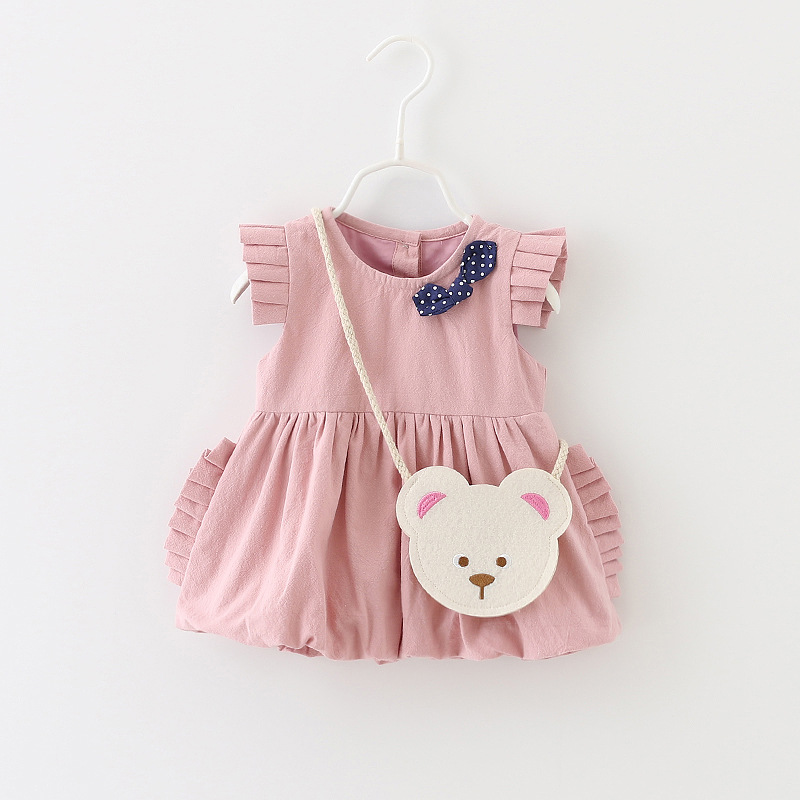 2017 Autumn Winter Baby Girls Cotton Ruffles Princess Party Bow Dress Kids Infant outono cor slida vestido da menina do beb