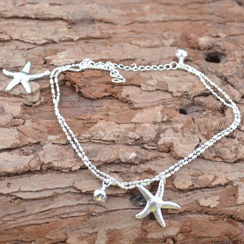 Stylish 1Piece Silver Color Anklet Multilayer 2 Starfish Pendant Design Foot Chain Jewelry Gift For Women