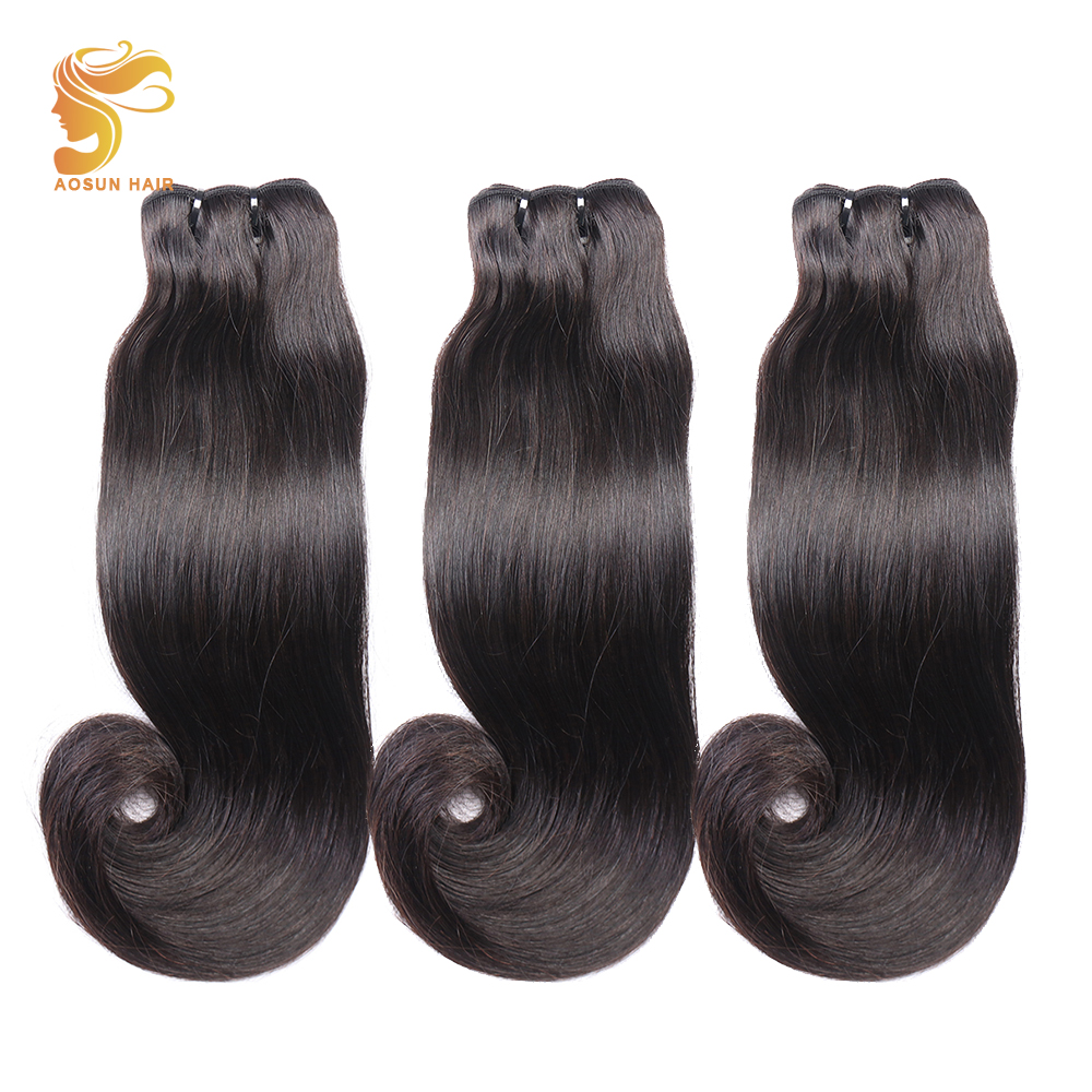 AOSUN HAIR Brazilian Fumi Straight Weave 10 20inches 100 Remy Human Hair Extension Natural Super Double