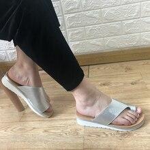 Фабричная обувь; летние сандалии; женская обувь; тапочки на плоской платформе; однотонные повседневные сандалии для коррекции ног; ортопедический корректор; Bunion
