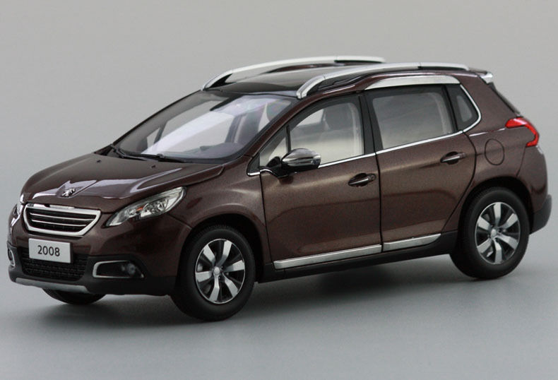 1:18 Diecast Model Car for Peugeot 2008 Brown SUV Alloy Toy Car Collection CRV CR V maisto bburago 1 18 fiat 500l retro classic car diecast model car toy new in box free shipping 12035
