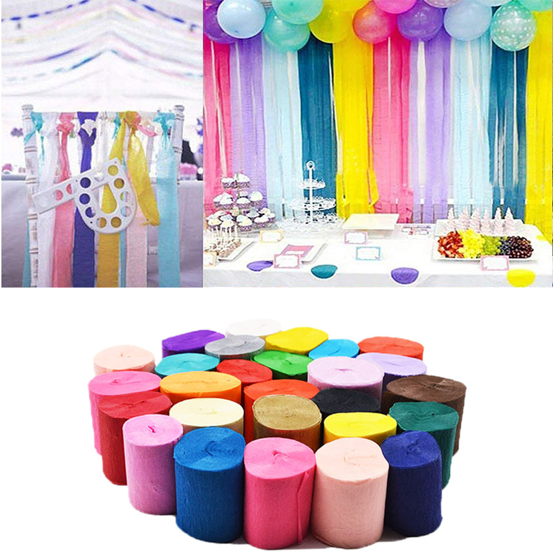 32ft 10m Crepe Paper Streamers DIY Paper Garland Photography Backdrops For Wedding Birthday Party Baby Shower Venue Decoration