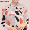 Moet She  Autumn Blouse Puff Sleeve Polka Dot Print Slim Colorful Blusas OL Bow Chiffon Shirt Tops Clothing Women T65226R