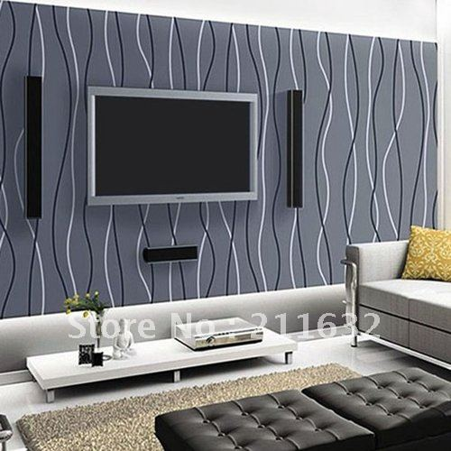 Free Shipping Modern Striped Vinyl Living Room / TV Background Wallpaper, Wholesale & Retail-in ...