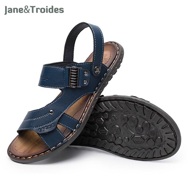 Plus size New 2018 Summer Men Sandals Split Leather Fashion Vintage Flat Solid Beach Shoes For Men Breathable Shoe