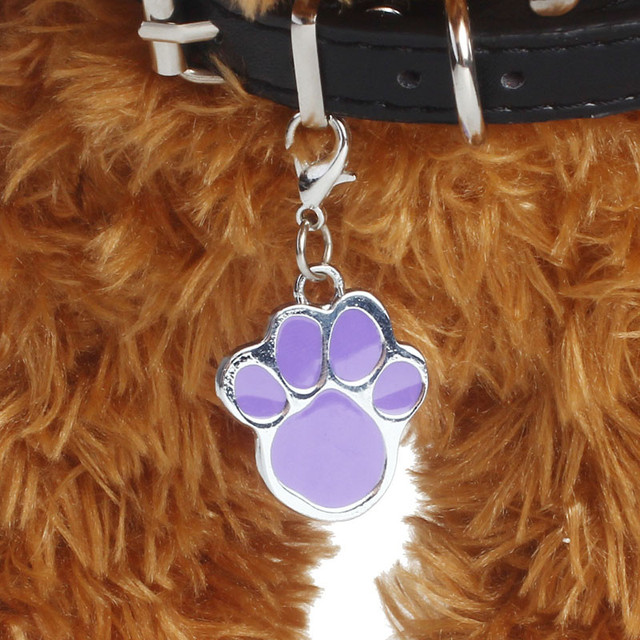New 6 colors Pet Jewelry Cat dog collar pendant tags Pawprint Necklace Collar Puppy identity collar accessory drop shipping