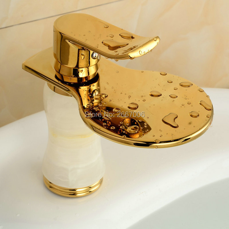 Free Shipping Discount Cheap Waterfall Faucet Gold Plate Basin Tap ...
